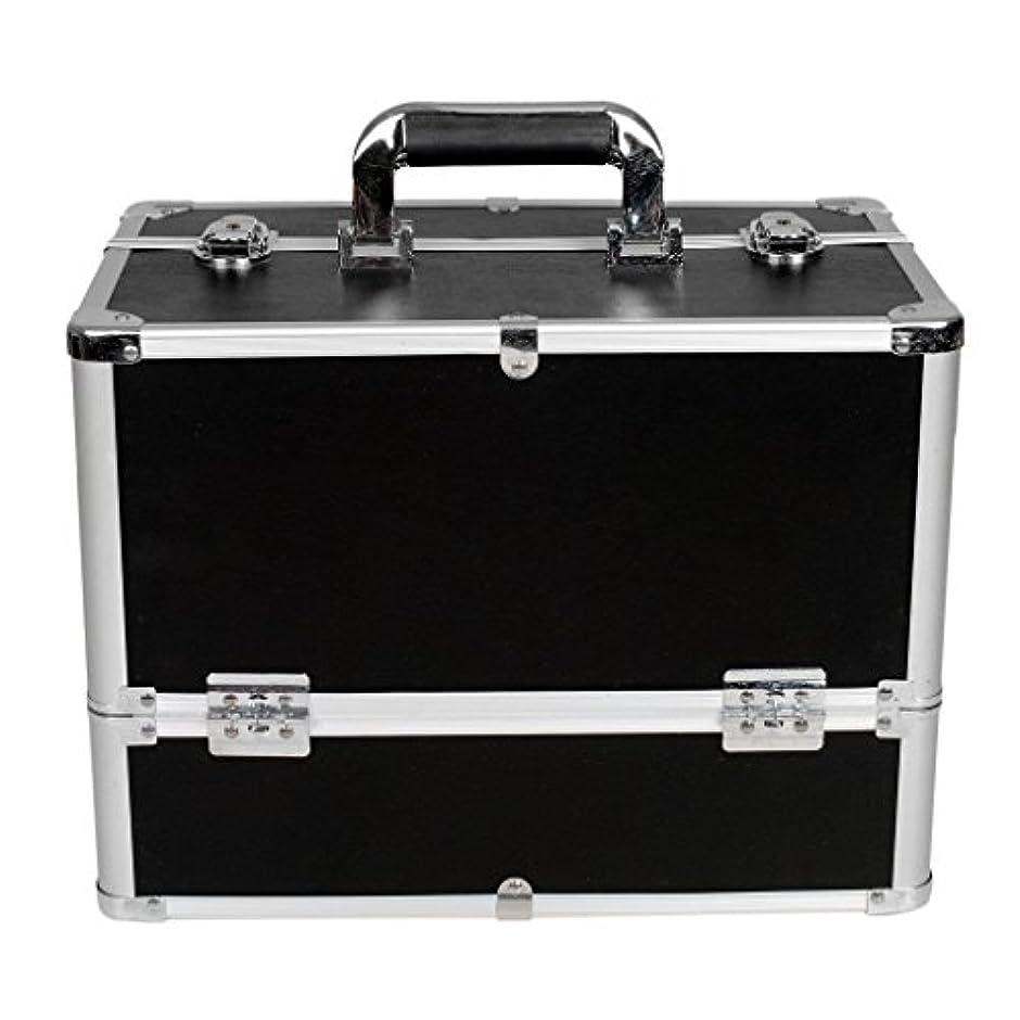 絡み合いアイデアディプロマ[プロ仕様]Hapilife メイクボックス 大容量 6つトレイ 幅37cm ネイル ジュエリー ドライヤー アクセサリー シューケア用品 収納ケース ブラック