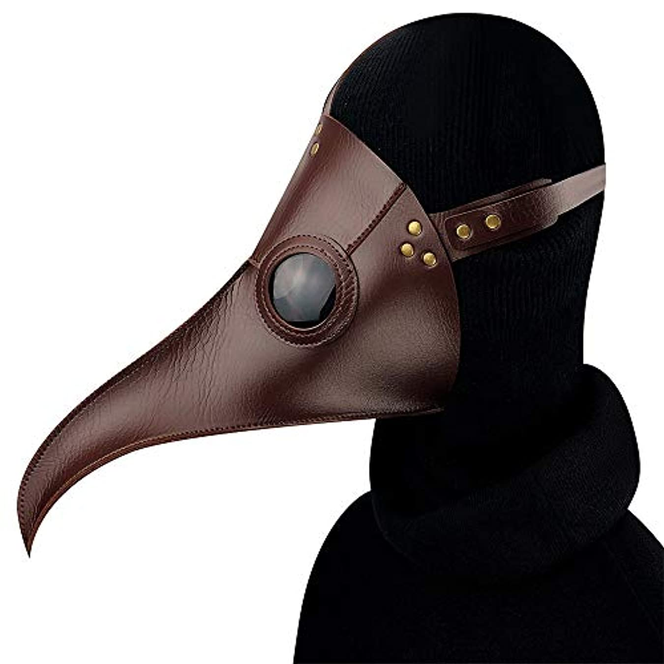 つかの間手首八ブラウンスチームパンクペストロングバード口マスクハロウィンプロップギフトロング鼻バードマスク