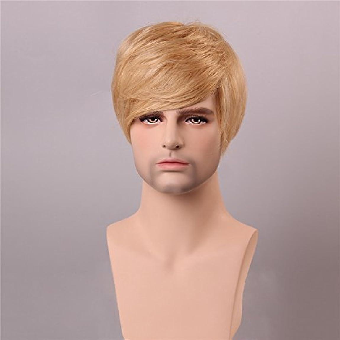 三角形騒ぎ騒乱YZUEYT ブロンドの男性短いモノラルトップの人間の髪のかつら男性のヴァージンレミーキャップレスサイドバング YZUEYT (Size : One size)