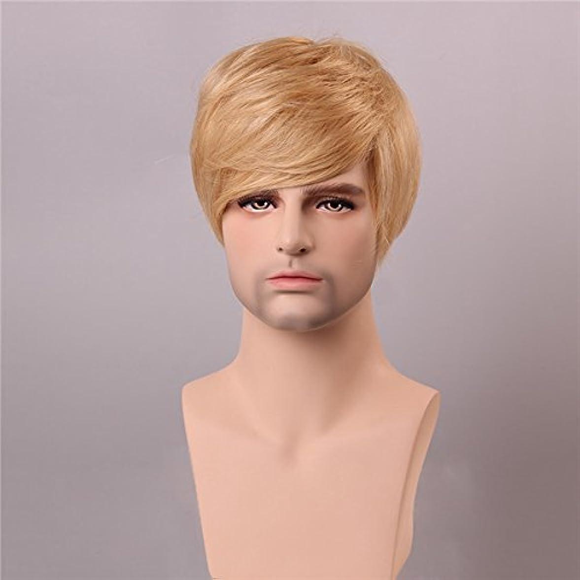 谷然とした目的YZUEYT ブロンドの男性短いモノラルトップの人間の髪のかつら男性のヴァージンレミーキャップレスサイドバング YZUEYT (Size : One size)