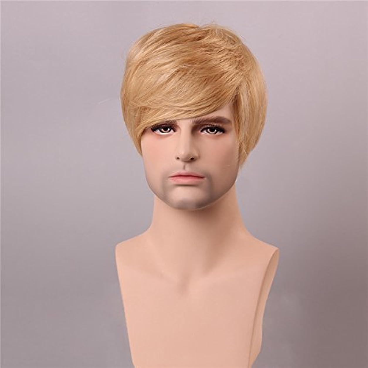 絶滅切り下げ変なYZUEYT ブロンドの男性短いモノラルトップの人間の髪のかつら男性のヴァージンレミーキャップレスサイドバング YZUEYT (Size : One size)