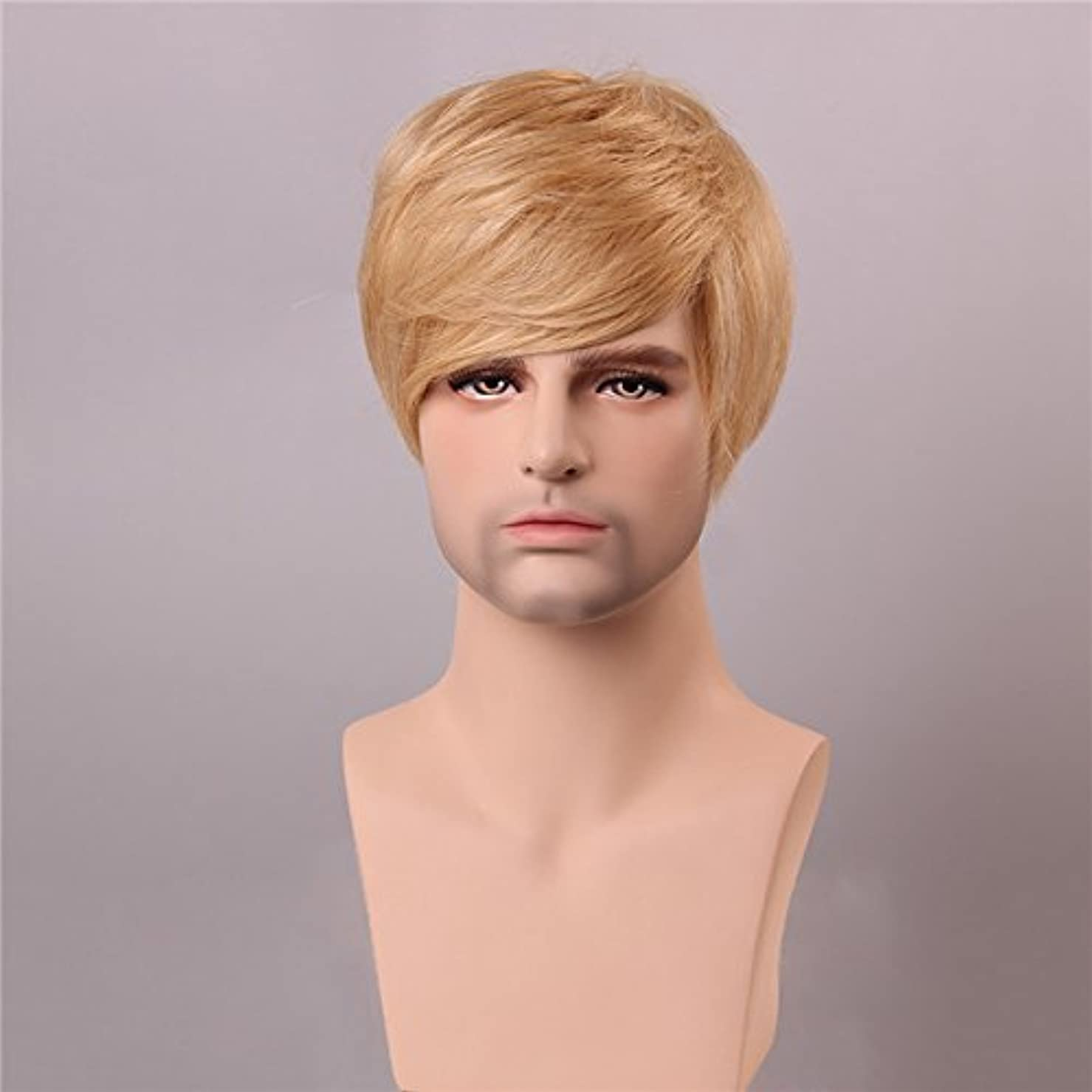 YZUEYT ブロンドの男性短いモノラルトップの人間の髪のかつら男性のヴァージンレミーキャップレスサイドバング YZUEYT (Size : One size)