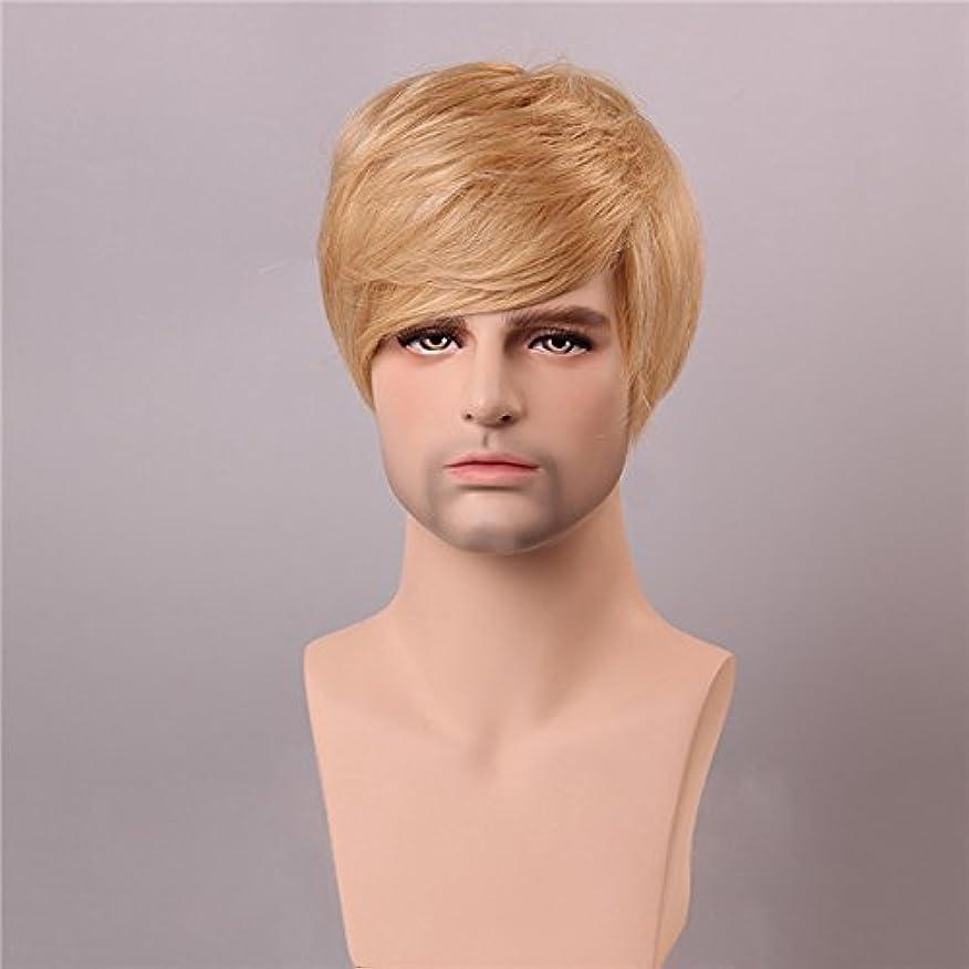 試みる相関する行動YZUEYT ブロンドの男性短いモノラルトップの人間の髪のかつら男性のヴァージンレミーキャップレスサイドバング YZUEYT (Size : One size)