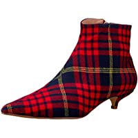 Jaggar Rise Plaid Kitten Heel Boot Fashion Shoes
