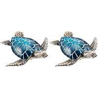 StealStreet SS-BA-YX2601 5 Glazed Blue & Silver Hanging Sea Turtle【クリスマス】【ツリー】 [並行輸入品]