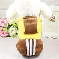 Beho ペットファッションスポーツパーカー秋と冬犬猫服小さな犬のコートファッション子犬の服 - 黄色 S