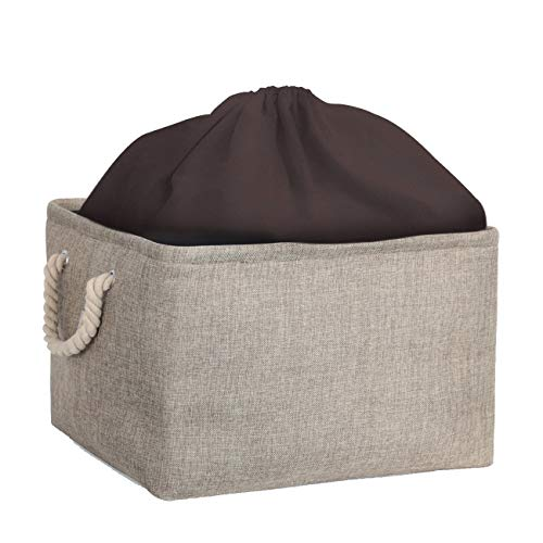 Cosyland 収納ケース 収納ボックス 巾着付き 折りたたみ 天然亜麻布採用 高耐久性 高安全性 取っ手あり 化粧品収納ケース 小物収納ボックス 衣類収納箱