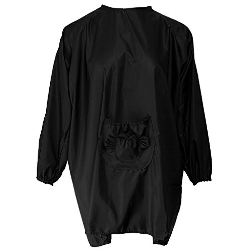 こだわりシャベル熟したHomyl 散髪エプロン サロン 美容院 エプロン ヘアスタイリング ヘアカット 5色選べ - ブラック