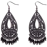 Colette Hayman - Tear Drop With Stone Tassel Earrings