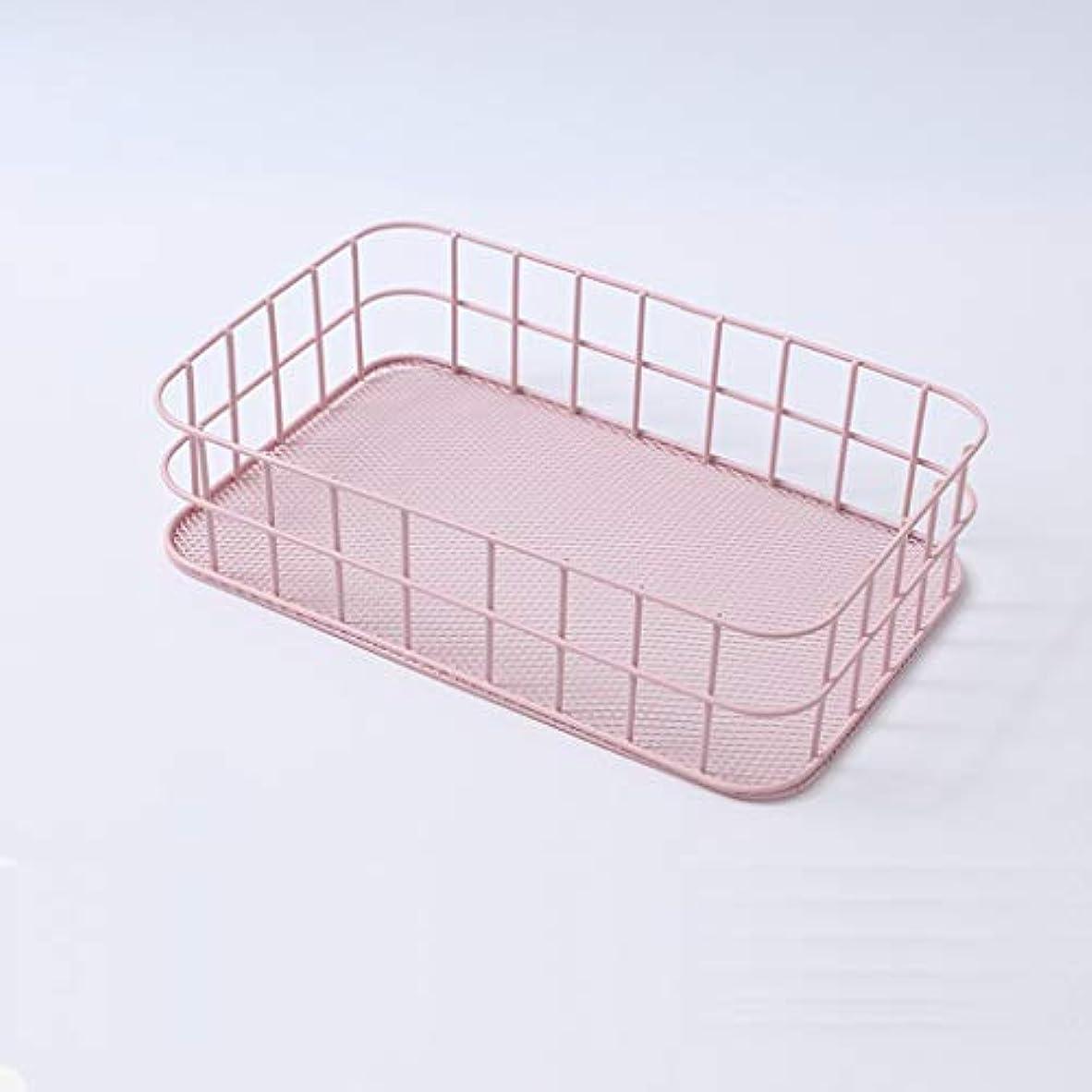 天井絶対に夏SMMRB 錬鉄製の収納バスケットスナックデブリ収納ボックス、デスクトップ収納コンパートメント、6色オプション (色 : Pink)