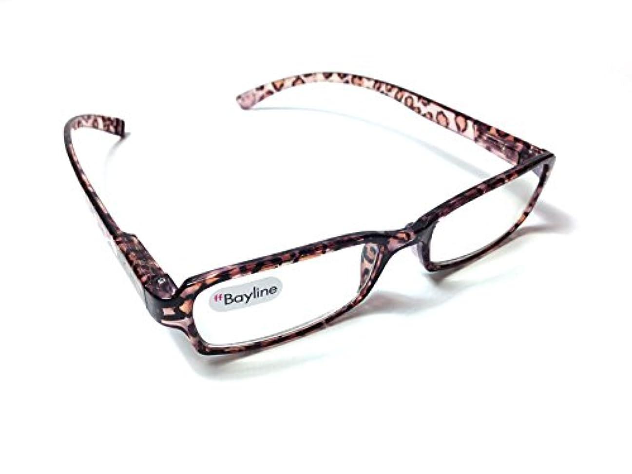 精査アボート面Bayline / ベイライン PC機能付き リーディンググラス ( 老眼鏡 ) ネックリーダーズ [ ヒョウ柄 ( クリアブラウン ) ] PC2217K (2.0)