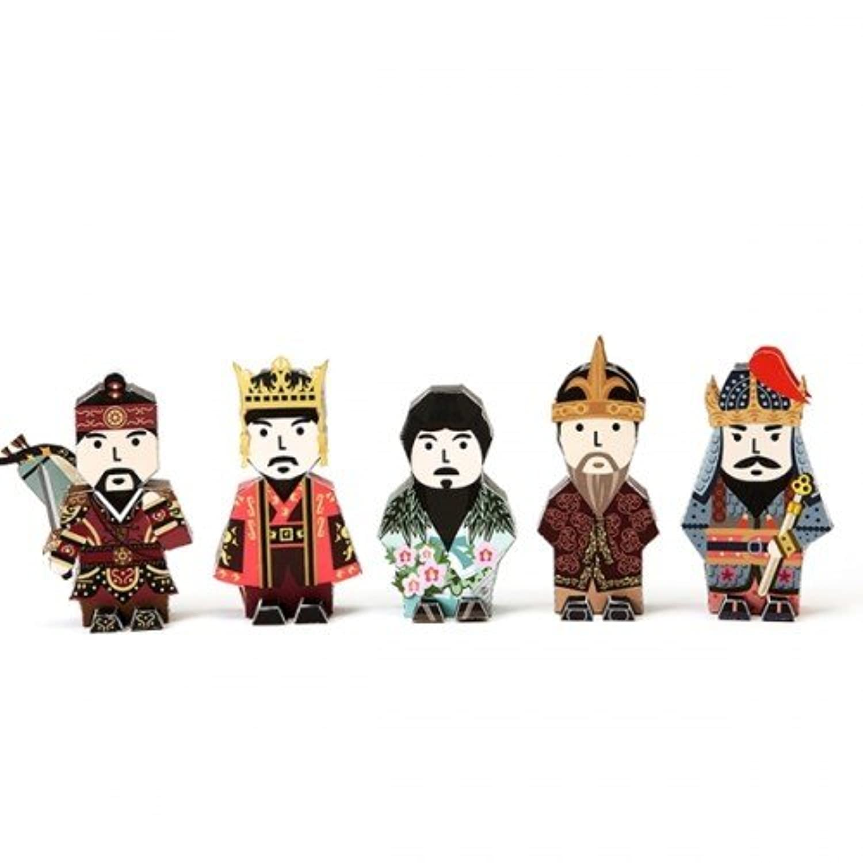 Korea Character Papertoy - Dangun & Euljimundeok & King kwanggaeto & Daejoyoung & Jumong