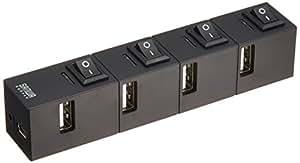 サンワサプライ 4ポートUSB2.0節電ハブ 個別スイッチ付き(磁石付 ブラック USB-HSM410BK