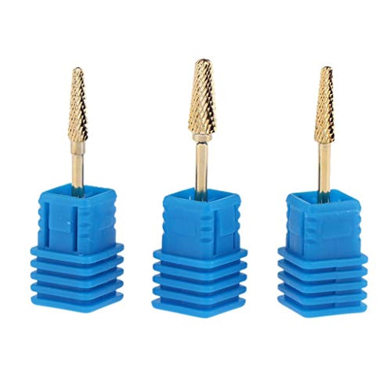 繁雑スラック弾力性のあるInjoyo 小型バレルヘッド ネイルドリルビットセット アタッチメント 爪磨き キューティクル シルキータッチ 3個