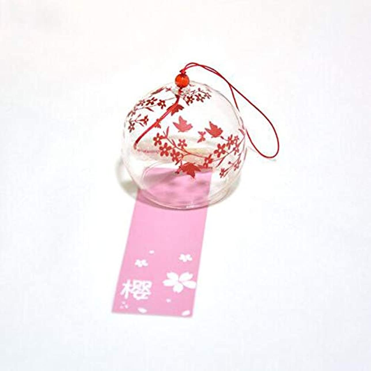ネックレス脱走市民権Qiyuezhuangshi 風チャイム、手描きのグラス風チャイム、透明、サイズ6 * 7CM,美しいホリデーギフト (Color : Red)