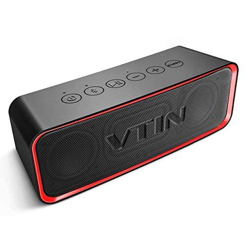VTIN bluetoothスピーカー Bassアップ技術 ワイヤレススピーカー IPX6 防水規格 重低音スピーカーbluetooth ポータブルスピーカー アウトドア 12時間連続再生 モバイルスピーカー ブルートゥーススピーカー コンパクト 赤-黒