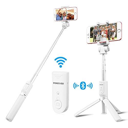 Poweradd Bluetooth 自撮り棒 セルカ棒 無線 軽量 三脚台・分離可能な ワイヤレス リモコンシャッター ボタン 付き iOS/Androidにも対応(ホワイト)