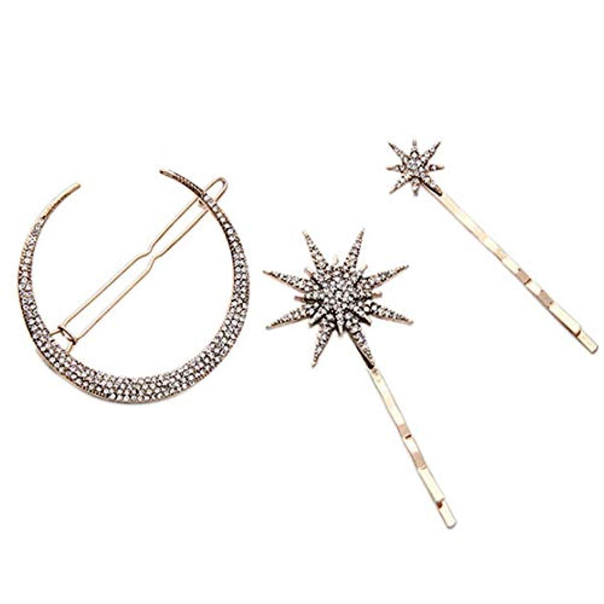 信頼子音マッサージ3ピースファッション幾何スタームーン模造ダイヤモンドヘアピンヘアアクセサリー女性ヘアクリップツール