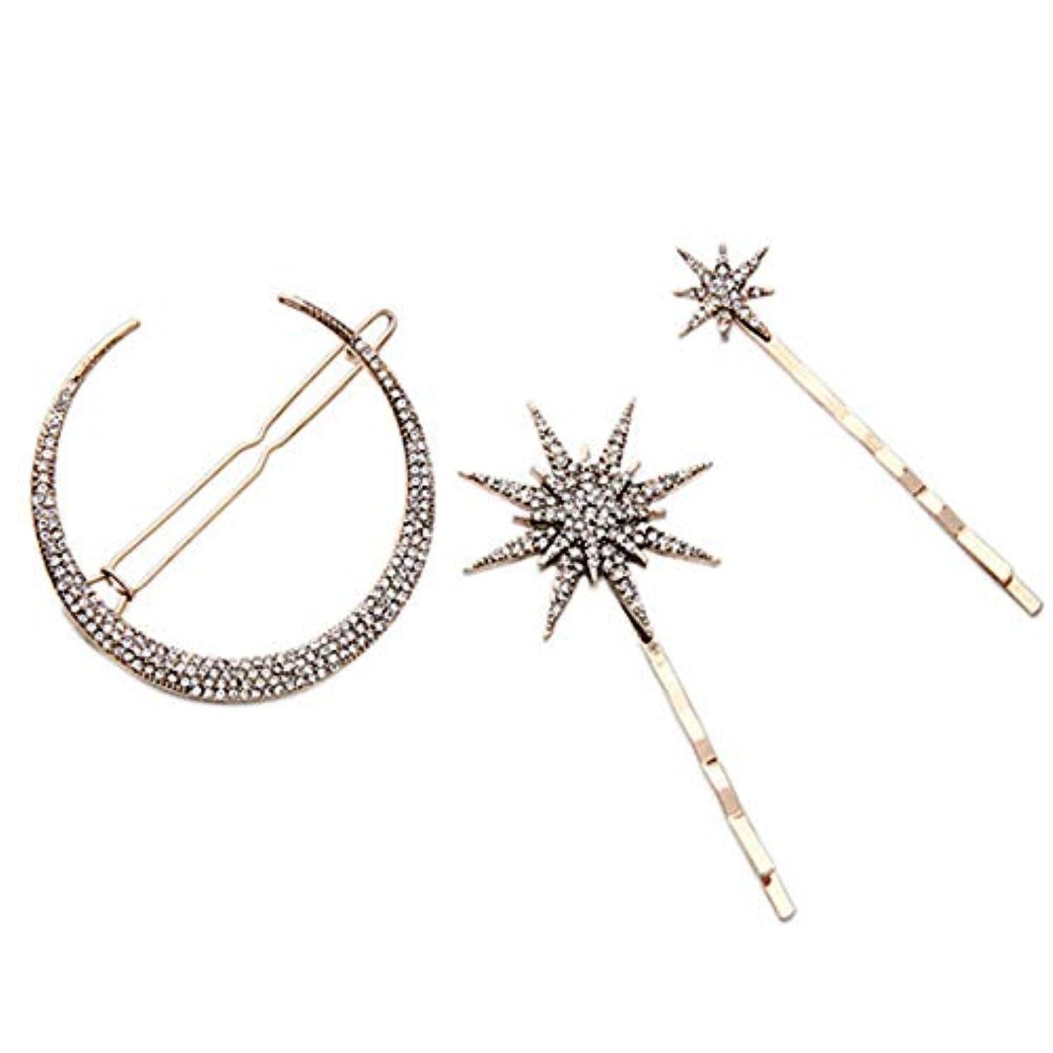 スナッチ伝説確立します3ピースファッション幾何スタームーン模造ダイヤモンドヘアピンヘアアクセサリー女性ヘアクリップツール