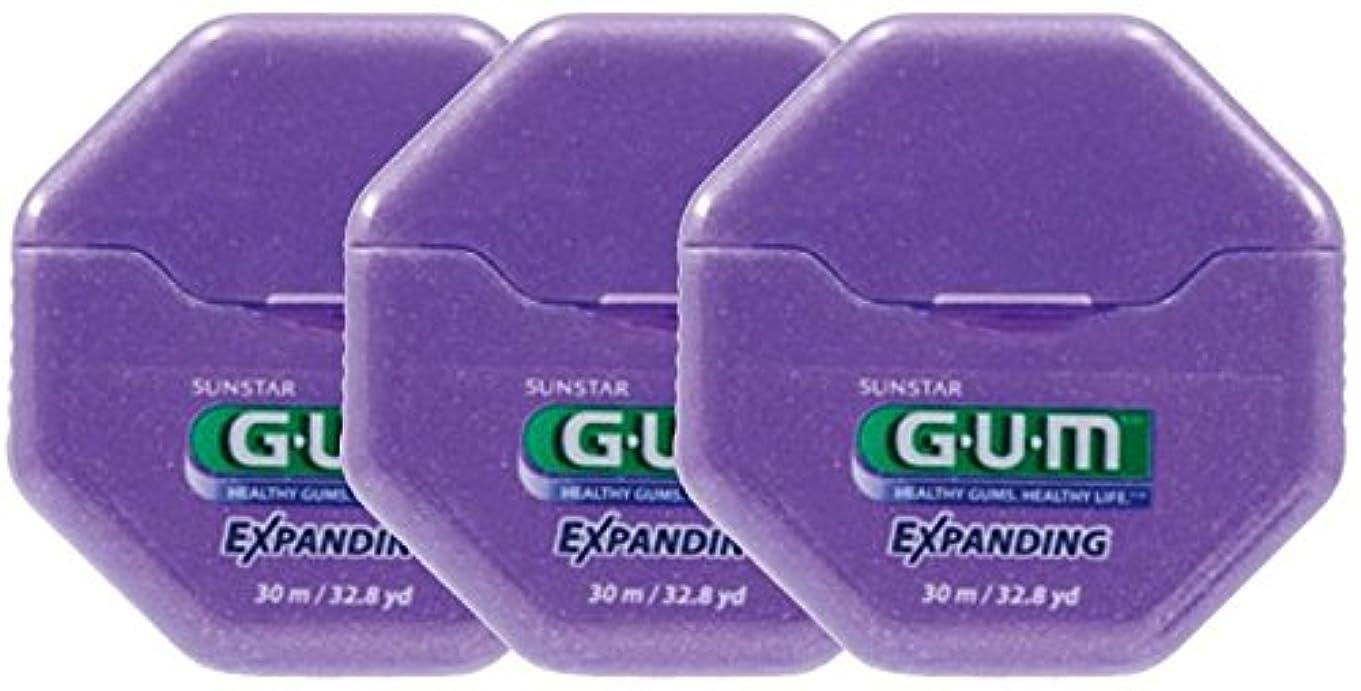 参加者メール副詞SUNSTAR GUM ガム エクスパンディングフロス ワックス付き/ノンフレーバー 32.8ヤード(30m) × 3個