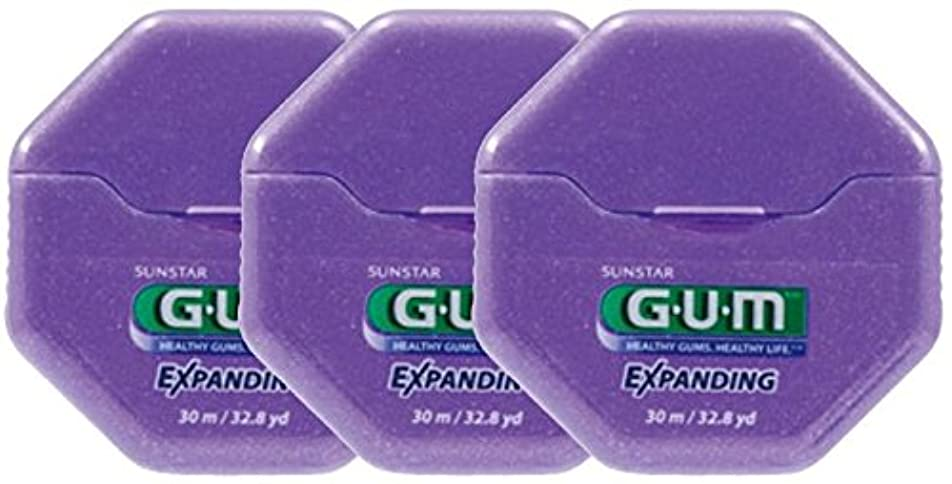 フルーツ野菜特徴致死SUNSTAR GUM ガム エクスパンディングフロス ワックス付き/ノンフレーバー 32.8ヤード(30m) × 3個
