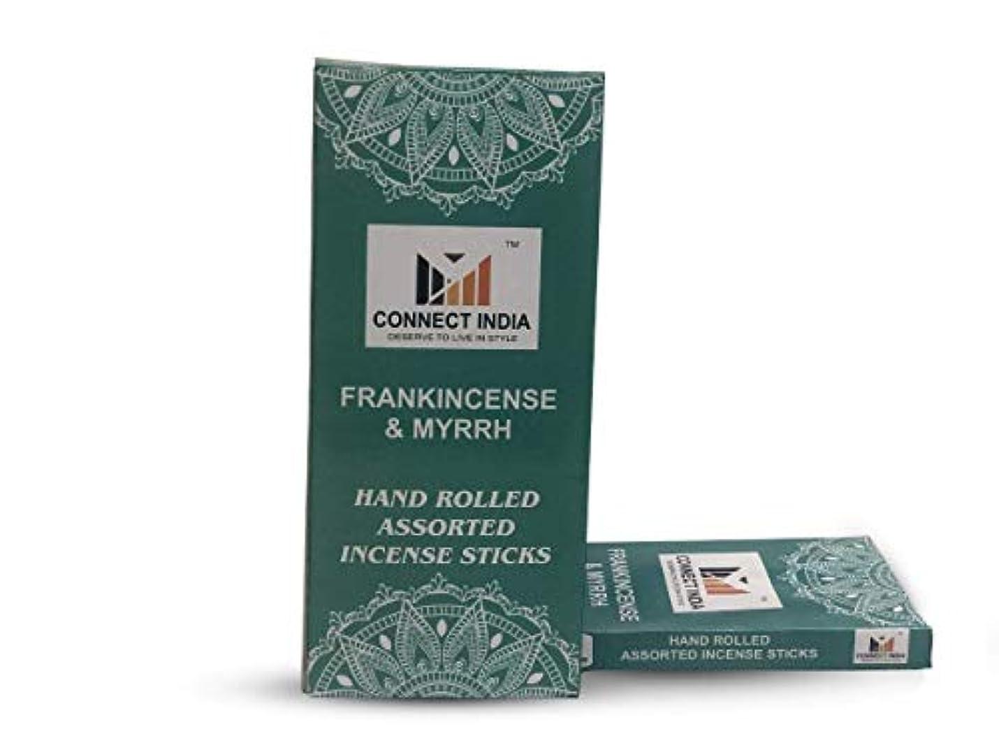 旅客他の日組み立てるConnect India 100%-Natural-Incense-Sticks-Agarbatti-Frankincense-and-Myrrh-Handmade-Hand-Dipped-100-sticks-pack