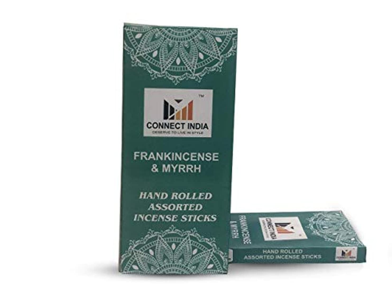 構造小麦ワームConnect India 100%-Natural-Incense-Sticks-Agarbatti-Frankincense-and-Myrrh-Handmade-Hand-Dipped-100-sticks-pack