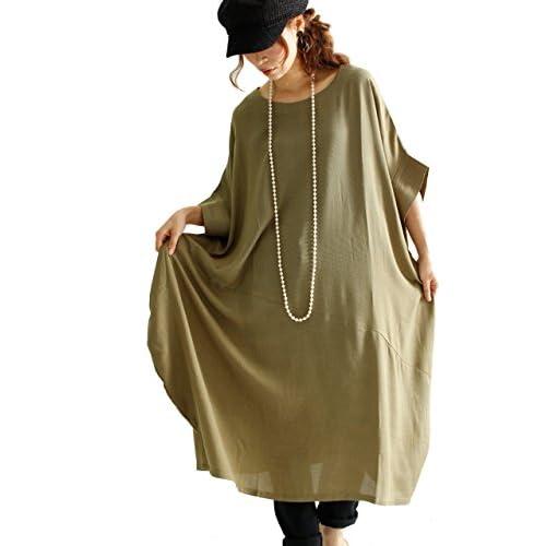 (Goldjapan)ゴールドジャパン 大きいサイズ 大きいサイズ レディース 大人 ゆったり バルーン チュニック ワンピース 体型カバー 半袖 ひざ丈 ミディアム 膝上 ハーフ丈 ミモレ丈 半端丈 ひざ上 ミニ丈jpsns-015 XL(LL-3L) カーキ