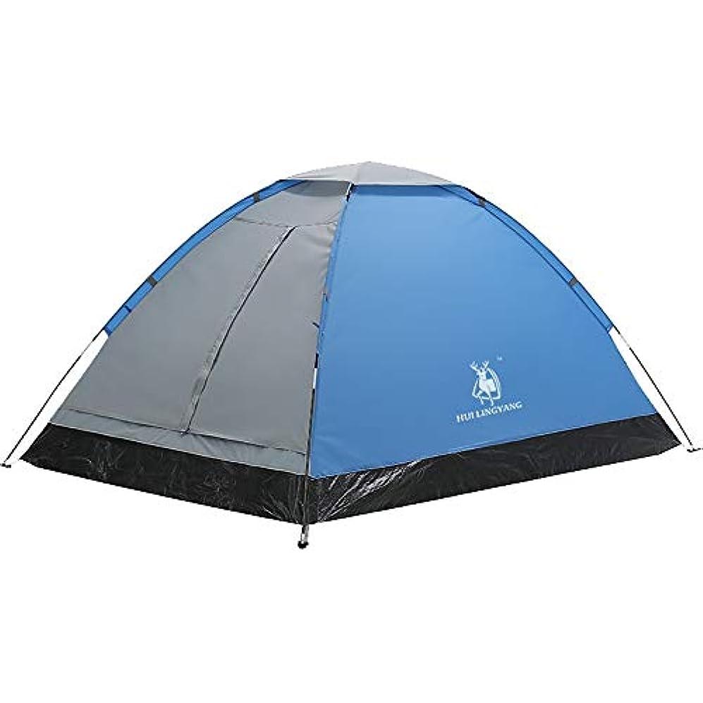 保証金自伝写真を描くアウトドア1-2人4シーズンバックパッキングテント簡単セットアップ防水軽量プロフェッショナル二重層テント、キャンプハイキング旅行用キャリーバッグ、ブルー/グレー