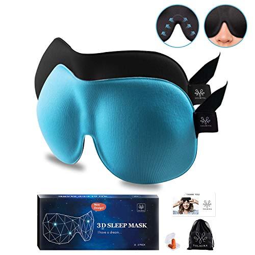 最新改良版 睡眠 アイマスク 遮光 3D 立体型 安眠 アイマスク 2枚セット 軽量 圧迫感なし 低反発 疲労回復 昼寝 旅行 飛行機 新幹線 オフィスに最適 快眠グッズ 男女兼用 耳栓 収納袋付き