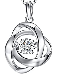 """Han han""""Dancing Diamond"""" Rose Necklace,925 Sterling Silver Rose Pendant Necklace,Infinity Romantic Rose Pendant Chain"""