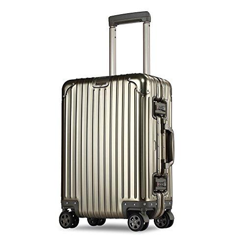 XDJ製TSAロック 超軽量 8輪マグネシウムアルミニウム 合金スーツケース 鏡面 アルミ ビジネス旅行 ドイツ製透明ケースカバー付け (S(機内持込), ゴールド)