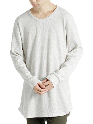 (モノマート) MONO-MART ワッフル ロング丈 Uネック プルオーバー カットソー Tシャツ ロングスリーブ メンズ オートミール Lサイズ