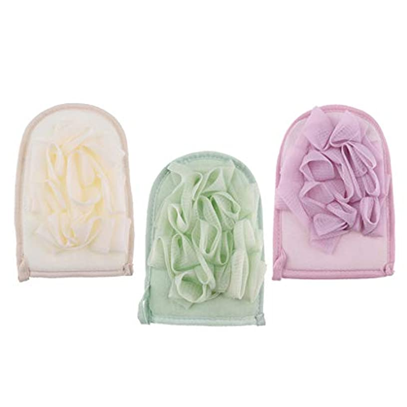 Hellery シャワーグローブ 両面バスミット ボディースポンジ 泡立ち 入浴用品 角質除去 垢すり 3個入
