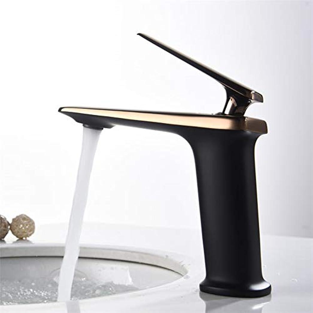 真実にボイラーレール便利な ブラシをかけられた金属の銅バスルームの洗面台には、ハイエンドのホテルのスイートルーム温水と冷水がカウンター盆地タップタップ (色 : Black)