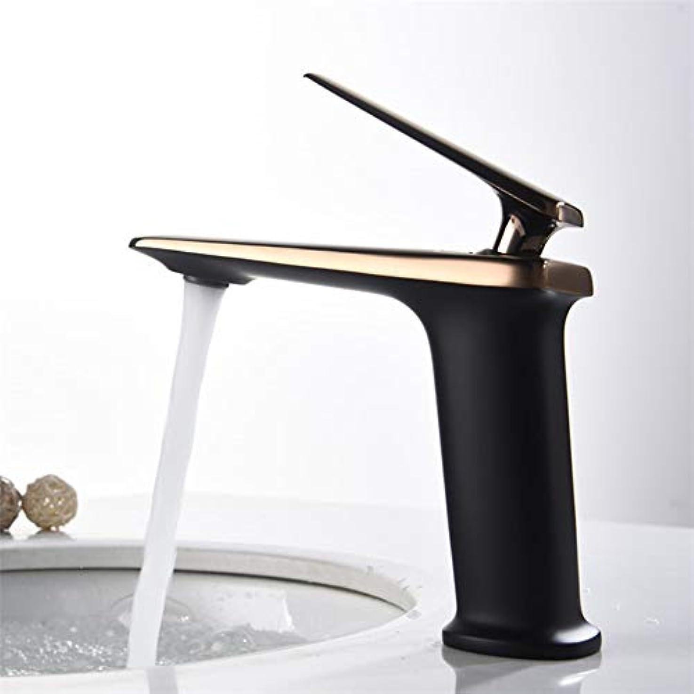 木材ボット大騒ぎ便利な ブラシをかけられた金属の銅バスルームの洗面台には、ハイエンドのホテルのスイートルーム温水と冷水がカウンター盆地タップタップ (色 : Black)