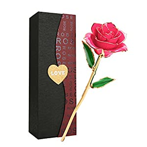 Getonny バラ 造花 ローズ 24K鍍金製 フラワー バレンタインデー ホワイトデー ミツバー 結婚祝い お誕生日のギフト ピンク