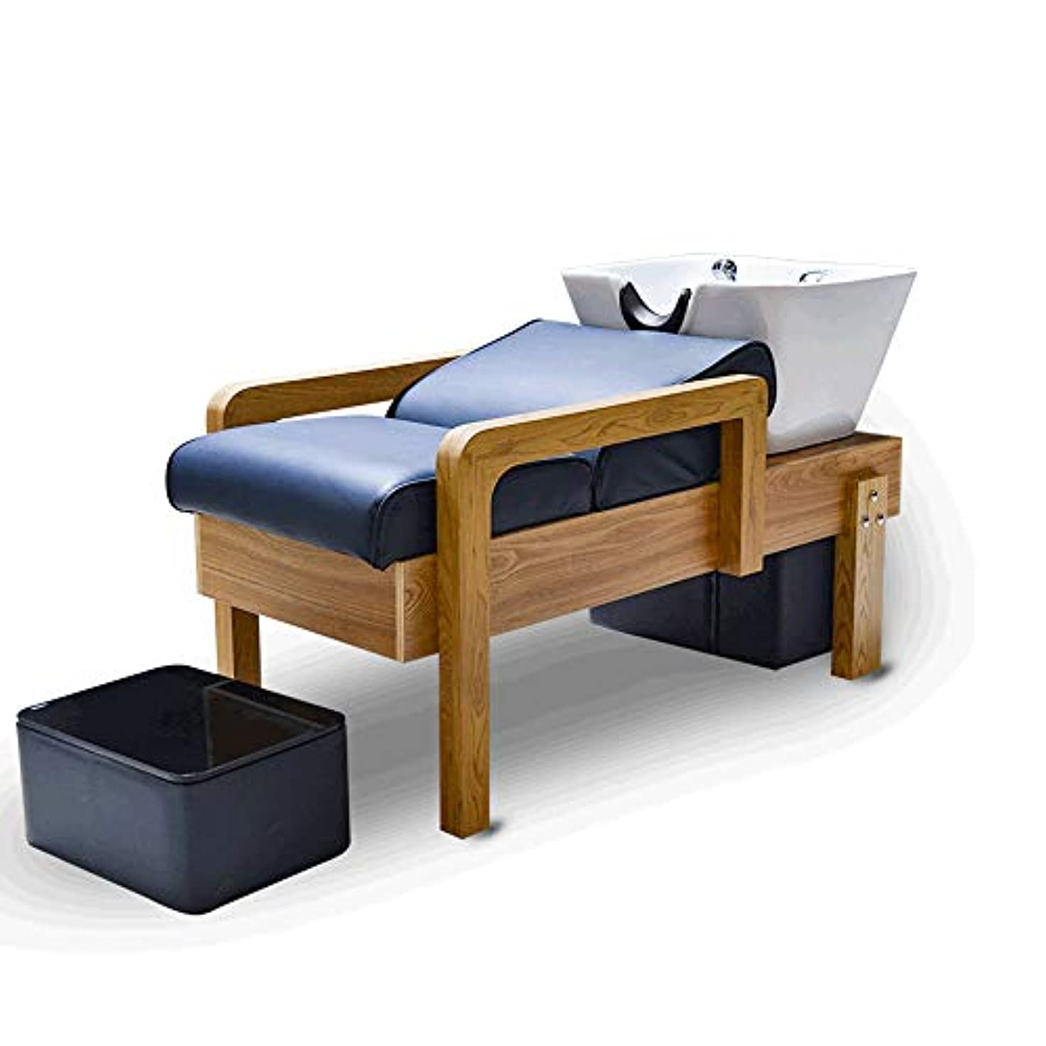 公演フットボール旅行者シャンプー椅子逆洗ボウルユニット駅理容椅子、 ヘアーサロンの純木の半横たわるシャンプーのベッドの鉱泉の大広間装置