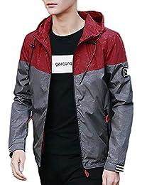 Keaac メンズロングスリーブカラーブロック軽量フードジャケット