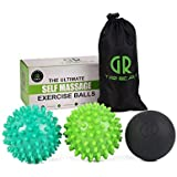 GR Massage Ball Roller (Set of 2) - Peanut Spiky Massage Ball - Reflexology Muscle Trigger Point Therapy - Perfect for Plantar Fasciitis, Deep Tissue and Muscle Relief (Massage Ball Set)