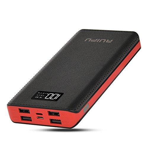 RuiPu モバイルバッテリー大容量 24000mah 携帯充電器 iPhone/Android各種対応 LCDディスプレー QuickCharge急速充電対応 4つUSBポート 一週間の用量が満足できる ACアダプター付属(red)