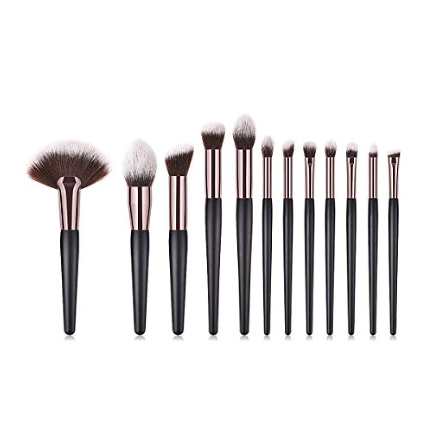 無駄キロメートル外観Makeup brushes 12化粧ブラシファンデーションブラシパウダーピンクブラッシュブラシアイシャドウブラシハイスクールグロスシルエットブラシセットブラシホワイト suits (Color : Black Gold)