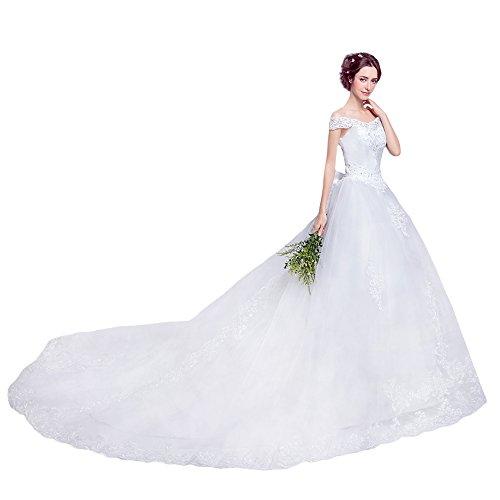 ホワイト L ブライダル ウェディングドレス & フラワーヘアアクセサリー のセット商品 ロングトレーン エレガント ハッスルライン かわいいリボン