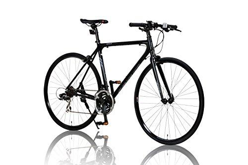 CANOVER(カノーバー) クロスバイク 700C シマノ21段変速 CAC-021 (VENUS) 特殊加工 アルミフレーム フロントLEDライト付 ブラック