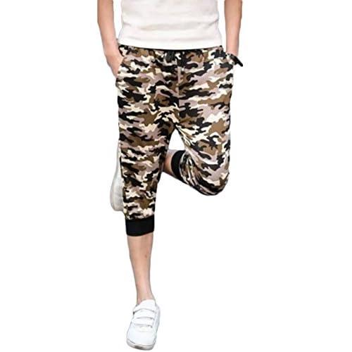 (リザウンド) ReSOUND メンズ 七分 丈 迷彩 スウェット パンツ カモフラージュ ズボン スリム 細身 部屋着 ルームウェア ダンス 春 夏 秋 冬 カジュアル 黄緑柄 XL #223