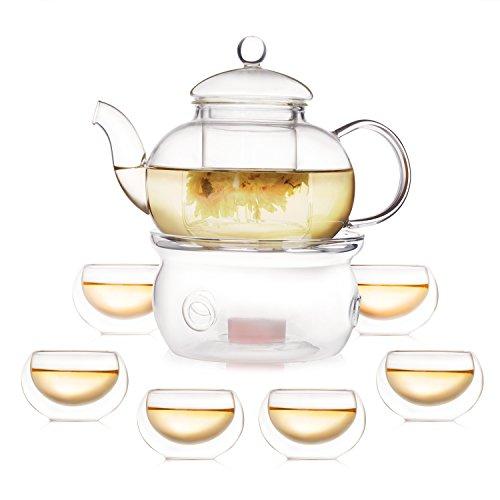 Homestia ティーポット ウォーマー付き ティーカップ コップ 二重構造 耐熱 ガラス 6杯セット 茶器 8点入り