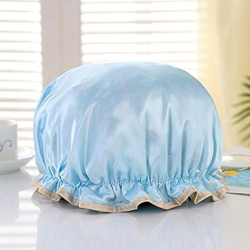 写真制限する滑りやすいPapiroom シャワーキャップ ヘアキャップ ヘアーキャップ ヘアーターバン 入浴キャップ 帽子 お風呂 シャワー用に 浴用帽子 便利 女性 弾性 防水入浴シャワーキャップ 再使用可能(ブルー)