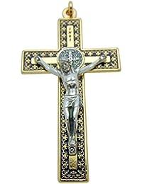 聖ベネディクト十字架ペンダント3インチロングゴールドトーンメタルWロープネックレスギフトボックス版