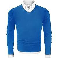 MOCOTONO Men's V Neck Pullover Sweater Long Sleeve Cotton Casual Sweat Dress