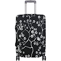 Mydaily Cherry Blossoms Floral Black Luggage Cover Fits 18-32 Inch Suitcase Spandex Travel Protector
